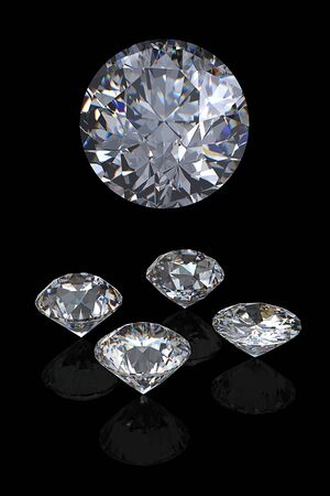 fake diamond: 3d Round brilliant cut diamond perspective isolated on black background