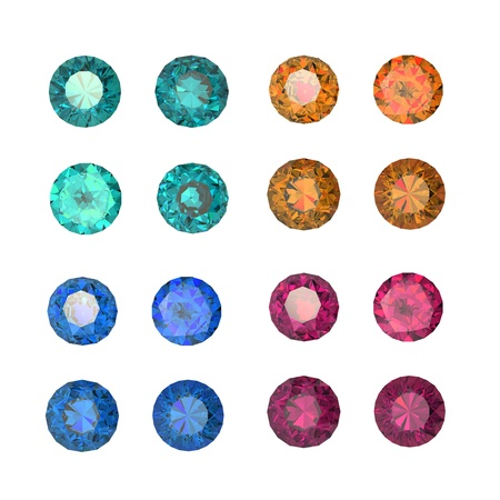 Collections of gems isolated on white background. Gemstone