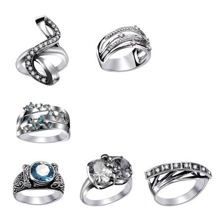 Stylish jewelry. Rings  with gems isolated on white background photo