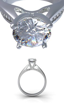 silver jewelry: 3d rendering ring with diamond isolated on black background