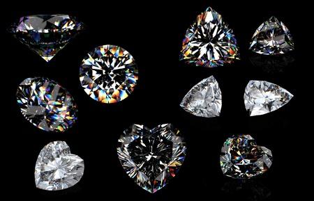 round brilliant: 3d brillante redondo perspectiva de corte de diamantes aislados sobre fondo negro Foto de archivo