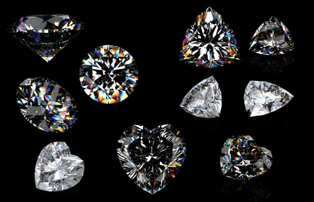 round brilliant: 3d Round brilliant cut diamond perspective isolated on black background