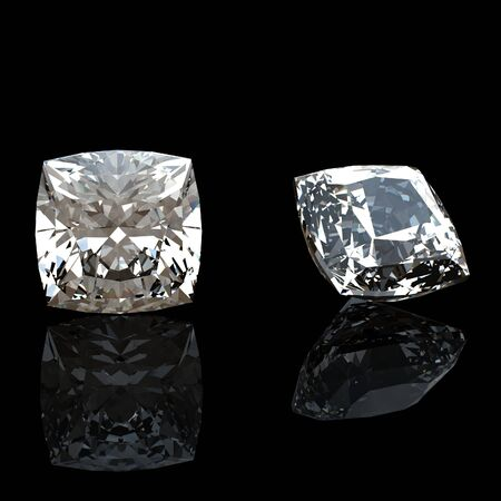 Collection of  diamond   Background with  square gemstone Stock Photo - 12500443