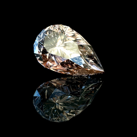 zircon: Jewelry gems on black background  Pear