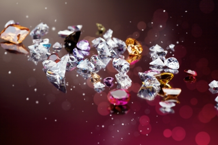 fake diamond: Background with set of many different gemstone