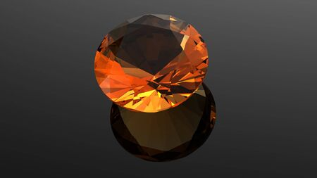 citrine  Jewelry gems roung shape on black background photo