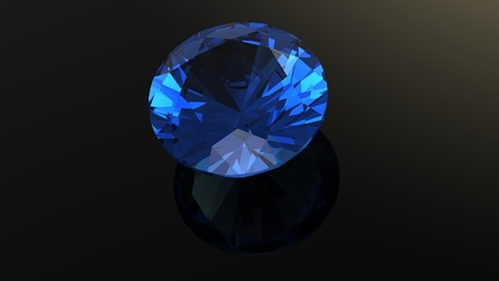 Sapphire  Jewelry gems roung shape on black background photo