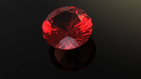 Garnet  Jewelry gems roung shape on black background photo