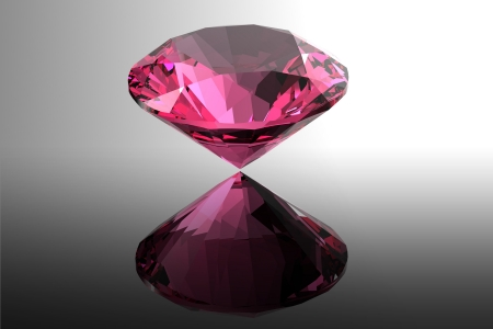 Ruby  Jewelry gems roung shape on black background photo