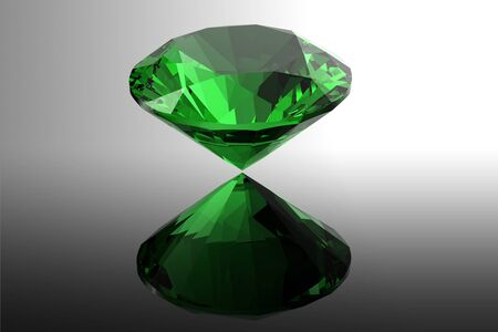 solitaire:  emerald  Jewelry gems roung shape on black background