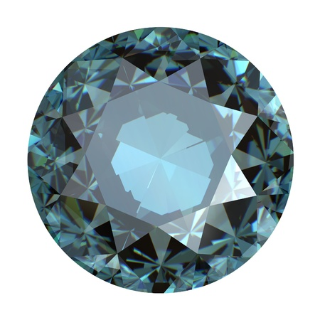 brooch: Jewelry gems roung shape on white background   sky blue topaz