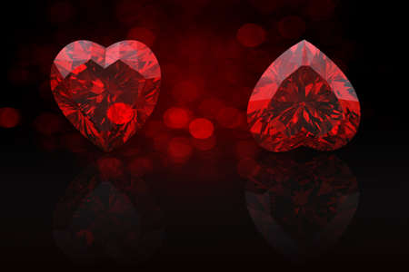 Heart shape gemstone  Collections of jewelry gems on black photo