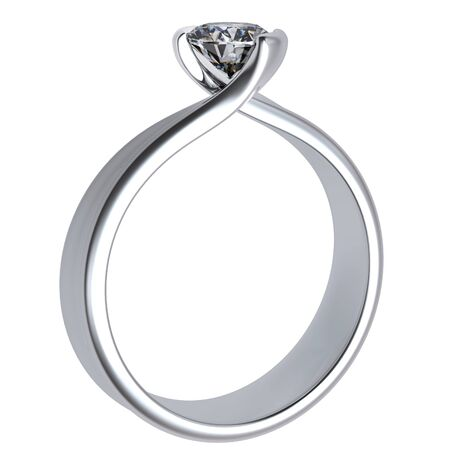 Wedding ring with diamond on white background  Sign of love photo