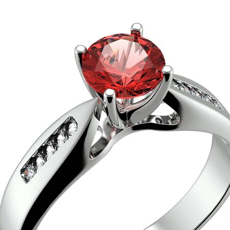 Wedding ring with diamond on white background  Sign of love  Garnet