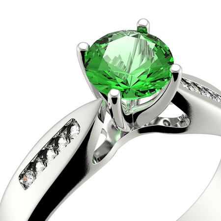 solitaire: Wedding ring with diamond on white background  Sign of love  Emerald