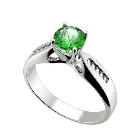 약혼: 사랑 에메랄드 흰색 배경에 로그인 다이아몬드 결혼 반지