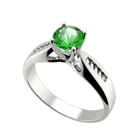 Wedding ring with diamond on white background  Sign of love  Emerald photo