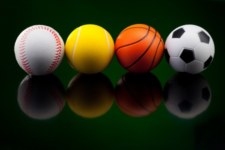 sports equipment: Backgrounds with assortment of sport balls