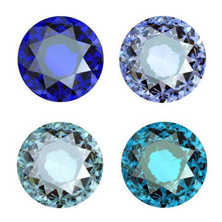 Jewelry gems roung shape on white background.Tanzanite. Sapphire photo