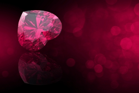 ruby: Heart shape gemstone. Collections of jewelry gems on black. Ruby