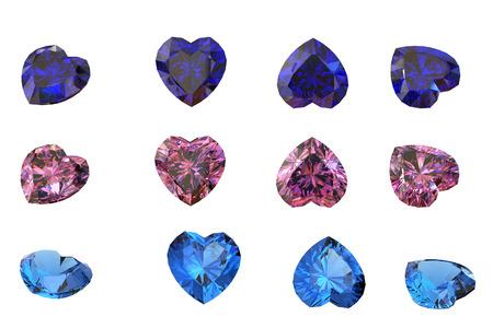diamond shaped: Heart shaped Diamond isolated on a white background
