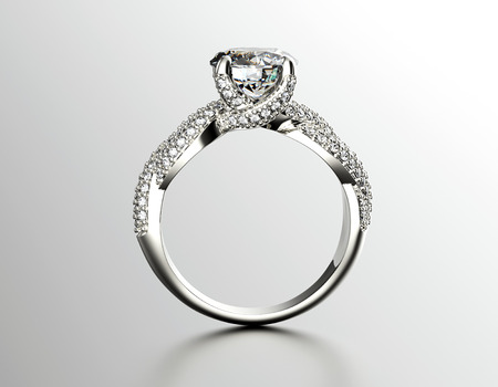 Golden Engagement Ring with Diamond or moissanite. Jewelry background