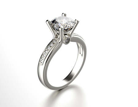 anillo de compromiso: Anillo de compromiso de oro con diamante. Fondo de la joyería