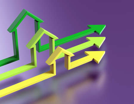 slew: Colorful arrows. Bussines  concept. Abstract house background  Stock Photo