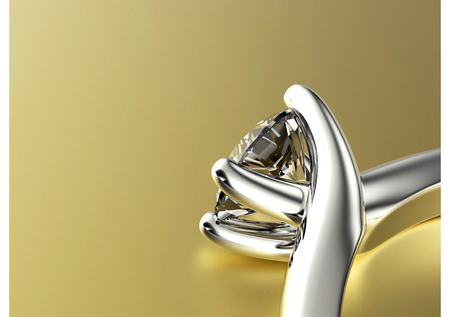 anillo de compromiso: Anillo de boda con diamantes. Fondo de la joyer�a Foto de archivo