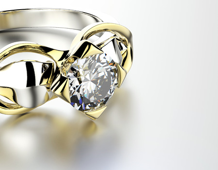 Golden Engagement Ring with  Diamond. Jewelry background Stok Fotoğraf