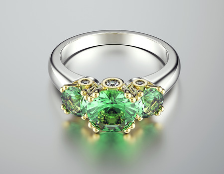 Wedding  Ring with Emerald.  photo