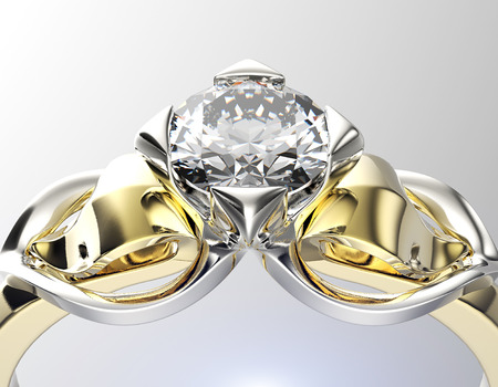 Golden Engagement  Ring with Diamond.  Stock Photo