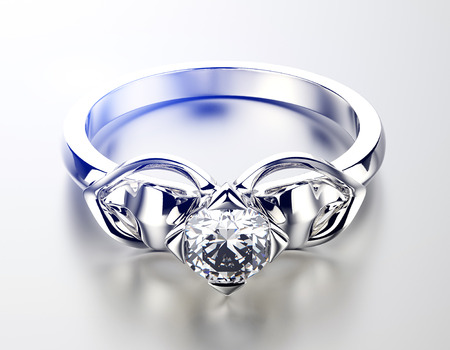 jewelry: Golden Engagement Ring with Diamond.