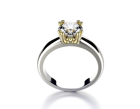 Golden Engagement Ring with Diamond. photo