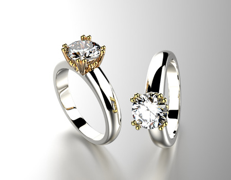 Golden Engagement Ring with Diamond. Stok Fotoğraf