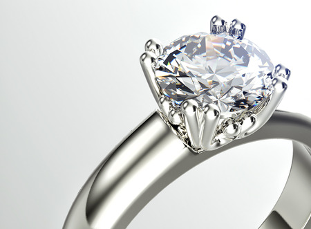 Gouden ring met diamant. Sieraden achtergrond