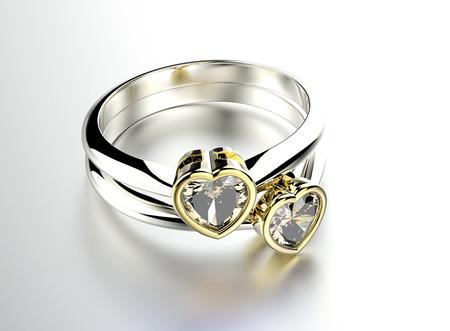 Golden  Ring with Diamond heart shape. Jewelry background Stok Fotoğraf
