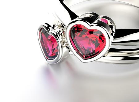 ルビーと金の指輪。宝石の背景 写真素材 - 34746551