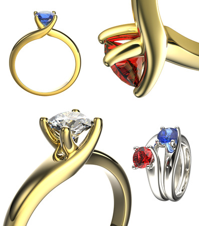 Set of Golden Wedding Ring with Diamond. Jewelry background. Valentine day