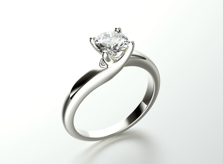 silver jewelry: Ring with Diamond. Jewelry background