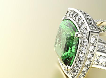 Ring met diamant. Sieraden achtergrond. Smaragd