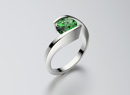 Ring with Diamond. Jewelry background. Valentine and wedding day. Emerald