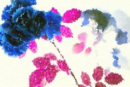 blomming: Set of fresh abstract rose. Summer flowers
