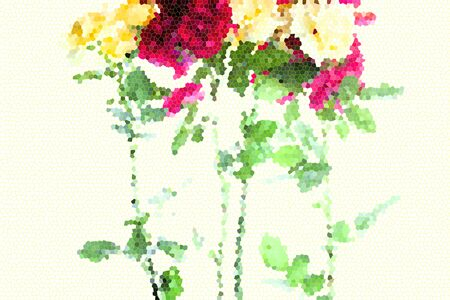 Set of fresh abstract rose. Summer flowers
