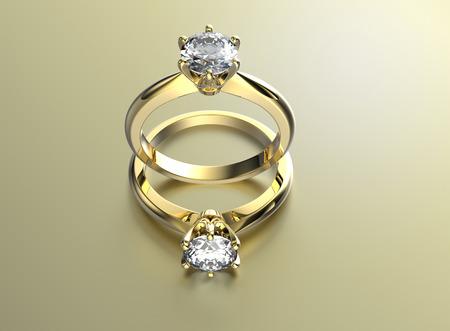 다이아몬드와 황금 약혼 반지