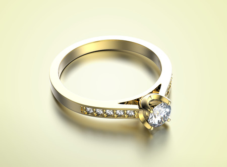 Golden Engagement Ring with Diamond Stock Photo