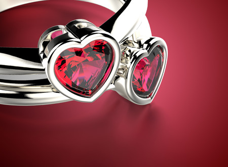coeur diamant: Anneau d'or avec diamant en forme de coeur. Romance fond
