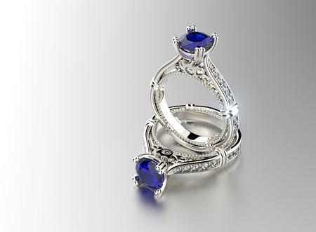 sapphire: Anillo de compromiso con zafiro Foto de archivo