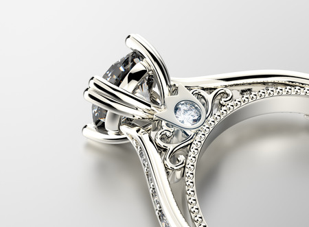 silver jewelry: Engagement Ring with Diamond Stock Photo
