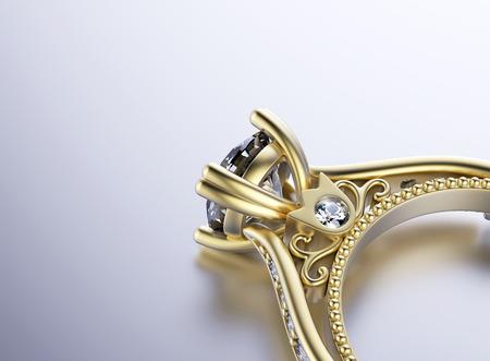 Anillo de compromiso de oro con diamante Foto de archivo - 38213571